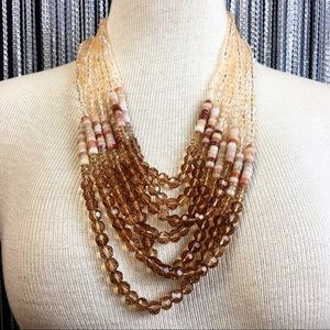 Jewelry - Brown Topaz & Champagne Bead 7-Strand Necklace